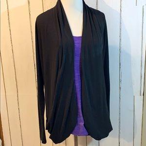 Lucy black jersey open drape cardigan SZ M